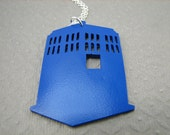 Blue Police Box Space Ship Necklace