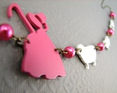 Little Bo Peep Necklace Nursery Rhyme Necklace in Hot Pink