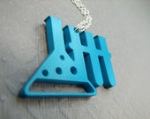 Science Necklace Erlenmeyer Flask with Test Tubes in Teal Turquoise