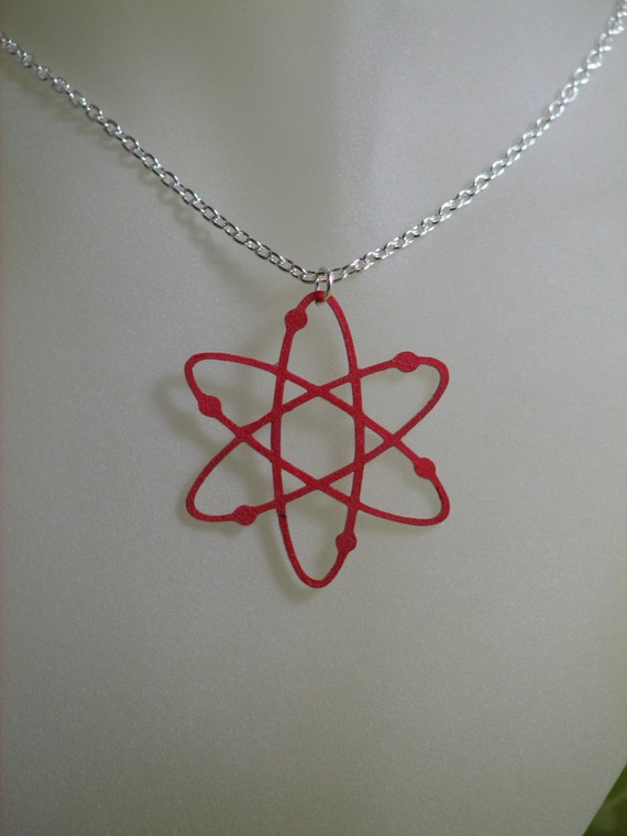 Delicate Red Atomic Cutout Necklace