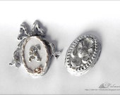 1/12TH scale - White Medallions Dollhouse Miniature Shabby Chic Vintage French Style Home Decor
