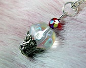 Hey Sweetcakes - A dainty beaded Cupcake necklace, Sparkling Glass Cupcake Charm Jewelry For Her