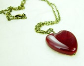 Glass Candy Heart Necklace - A Red Hot Red Heart Pendant, Brass and Burgandy Heart Necklace, Heart Statement jewelry