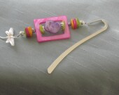 Bookmark Shepherds Hook Hot Pink Purple Lime Green Yellow Glass Silver Dragonfly Charm Silver Bookmark by lakehousejewelrybd A047
