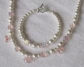 Wedding Flower Girl Jewelry Necklace Bracelet First Communion Jewelry White Swarovski Pearls Pink Flower Glass Silver Heart Clasp B053