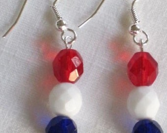 Earrings Memorial 4th of July USA Red White Blue Firepolished Glass Patriotic Clip On Dangle Earrings by lakehousejewelrybd E026
