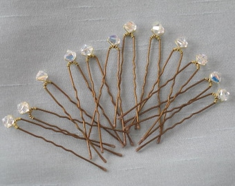 Wedding Crystal Hair Pins 12 Swarovski AB Crystal Bronze Up Do Hairpins by lakehousejewelrybd H001