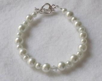Flower Girl Gift Bracelet Swarovski Pearl Crystal Bracelet White Silver Heart Charm Communion Baptism Little Girl Jewelry B035