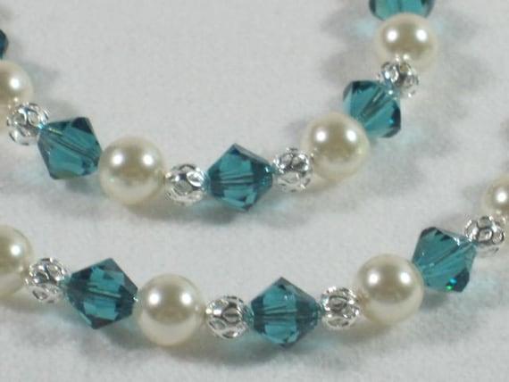 Flower Girl Gift Jewelry Set Swarovski Pearl Crystal Oasis Peacock Teal Malibu Pearl Necklace Bracelet Ivory Little Girl Jewelry B056