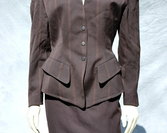 Vintage Thierry Mugler suit jacket/skirt 80's power suit s38 by thekaliman