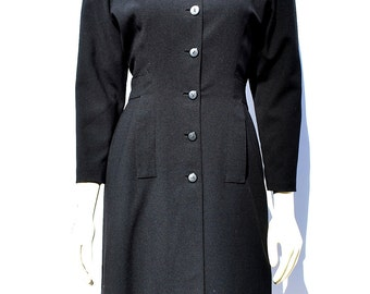 Vintage 60's trench dress shirt dress s6 mad men couture LBD by thekaliman