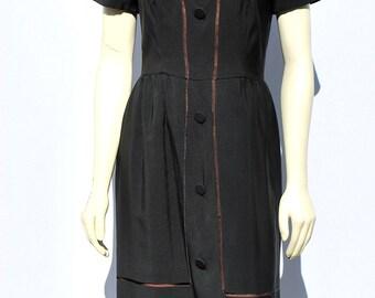 Vintage 50's dress designer LBD silk sM cocktail party dress by thekaliman
