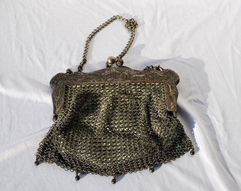 Vintage 20's mesh purse chain link flapper bag German silver leather lining by thekaliman