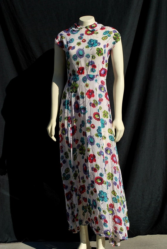 Vintage 30's dress rayon floral long gown 40's dress MINT by thekaliman
