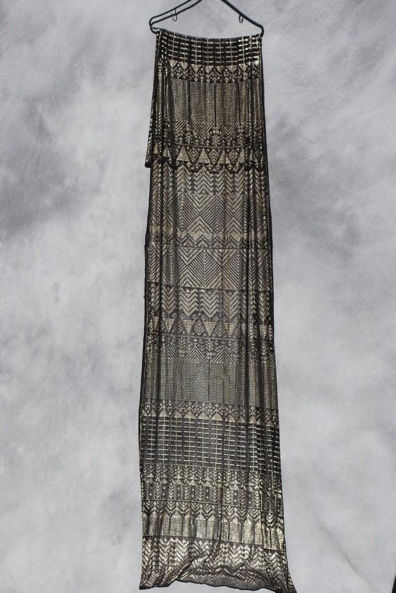Vintage egyptian ASSUIT scarf art deco silver scarf shawl black MINT by thekaliman