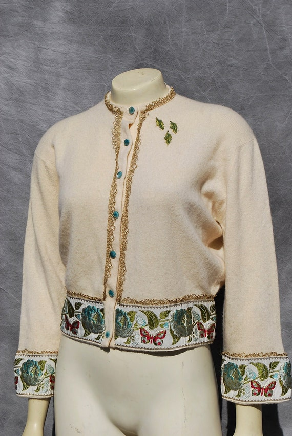 On hold Vintage 50's cashmere DALTON sweater hand decorated velvet buttons brocade border sL by the kaliman