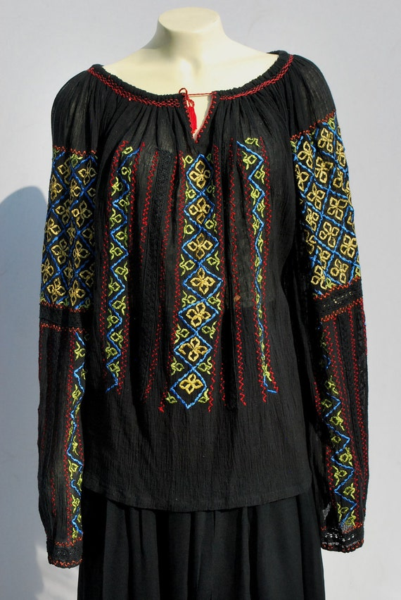 On hold Vintage 70's gypsy blouse Hungarian ethnic BOHO hippie blouse top sheer gauze cotton embroidered XL by thekaliman