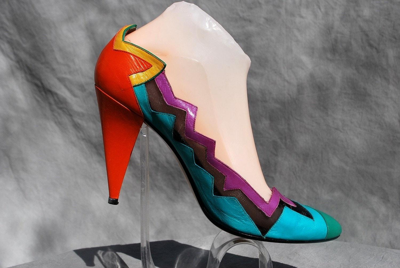 Vintage 80's shoes MEMPHIS style color block superheroe