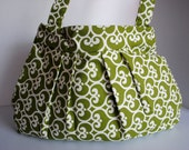 IN STOCK- Green Pleated Purse with pockets inside for organization