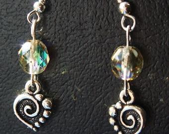 Pewter heart charm earrings