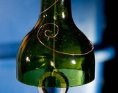 Hanging wind chime made from recycled wine bottles - recycled by bicycle