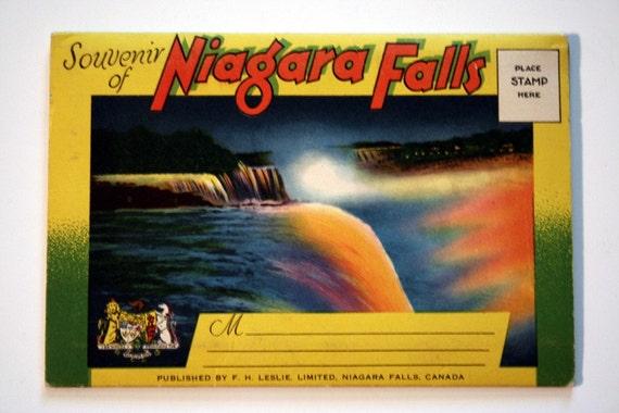 Vintage Niagra Falls Fold out Postcard