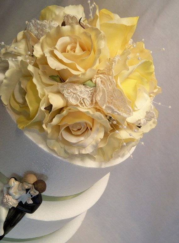 Ivory Yellow Rose Wedding Cake Topper With Alencon Lace