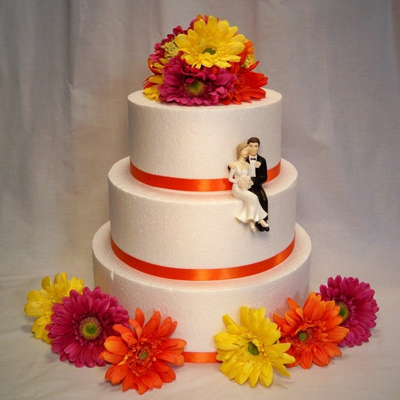 Magenta Yellow Orange Gerbera Daisy Wedding Cake By ItTopsTheCake