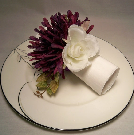 Purple Mum White Rose Napkin Rings Wedding Reception Home