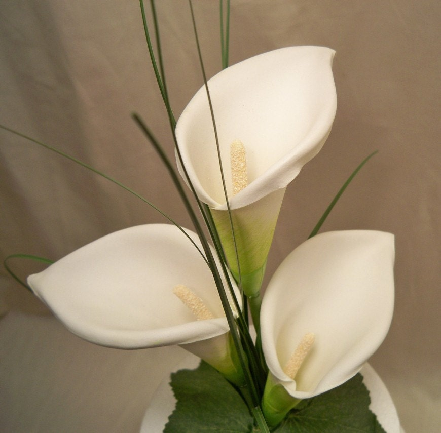 Calla lily wedding cake topper by ittopsthecake on etsy