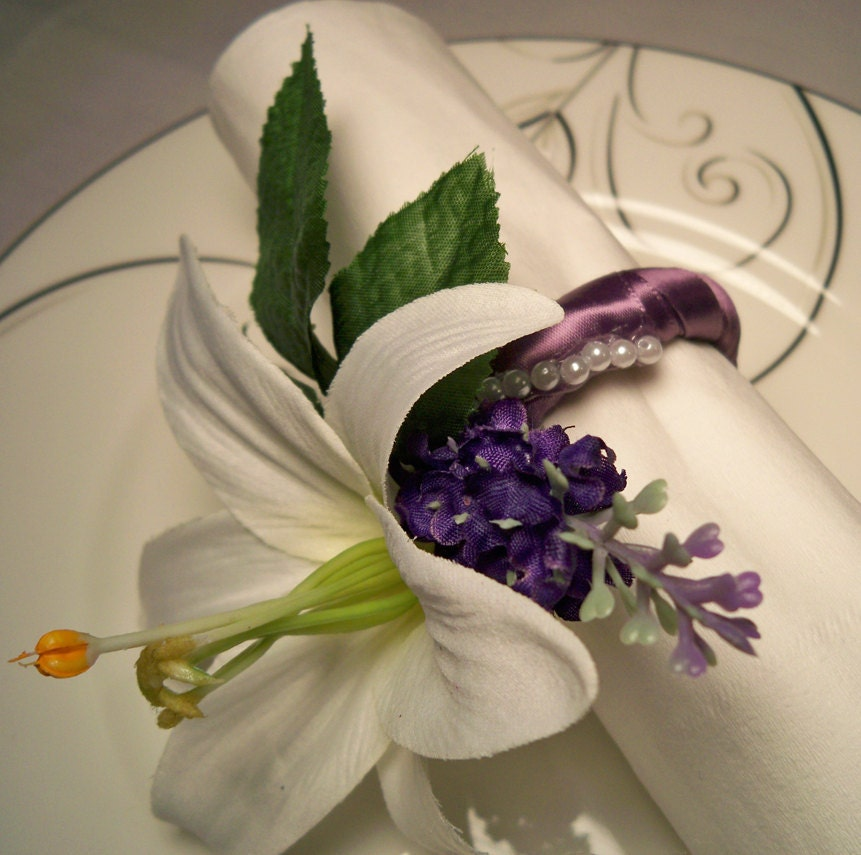 White Lily Lavender Napkin Rings Wedding Reception Home