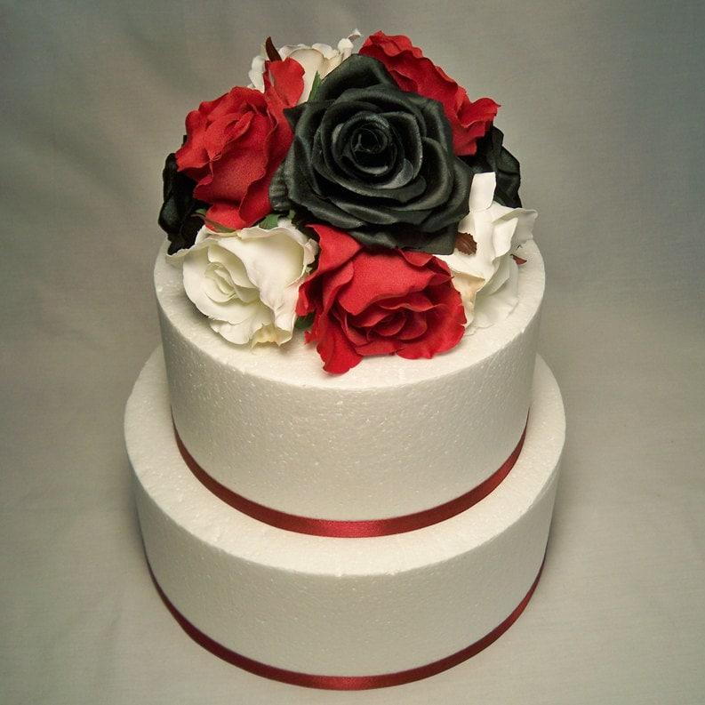 Rose Wedding Cake: Black White And Red Rose Wedding Cake Topper