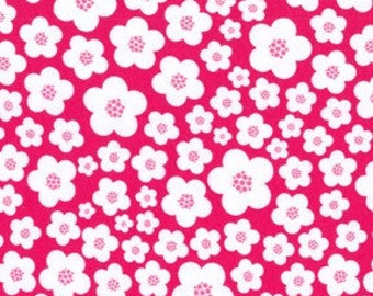 Michael Miller pink white Blossoms flowers Knit Fabric 1 yd (More Available)