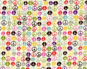 Michael Miller Multi Colored Peace Sign Fabric 1 Yard (More available)