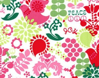 Michael Miller Christmas Tree Santa Peace Sign Fabric 1 Yard (More available)