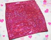 Pink Holographic High Waist Skirt