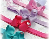 Baby Bow Headbands, Pink, Lavender, Hot Pink, Turquoise, White, Soft Stretch Headbands, Newborn, Infant, Baby Hair Clips-Set of 5