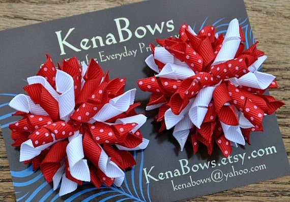 Red and White Pigtail Korker Bows/Non-Slip