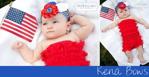 America the Beautiful- Dainty Lacey Satin Romper with Coordinating Headband