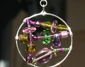 Purple and Green Dangle 8601
