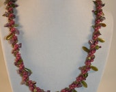 Pink Vine and Amethyst beaded necklace