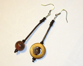 Jupiter and Saturn Earrings in Stone, Glass, and Shell