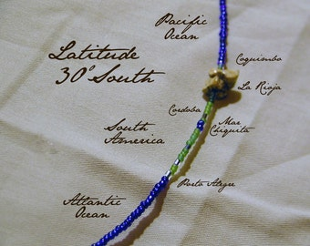 Latitude 30 South Necklace - Distance Measured in Beads