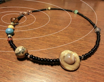 Solar System Necklace - Jumbo Size - Mens Necklace - Planets of the Solar System and Proportional Distances in Glass and Stone