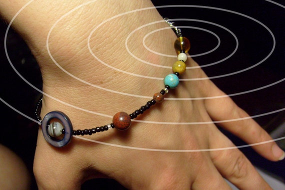 MiniVerse - Solar System Bracelet - Wearable Map of the Solar System (7.5in) - Proportional Distances - Gemstone Planets - by Chain of Being