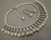 Bib Necklace Set Pearl Rhinestone drops totally adjustable length stunning for wedding bridal necklace -  I can custom make in other colors