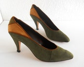 vintage 1980s pumps, forest green and mustard suede, by Sesto Meucci