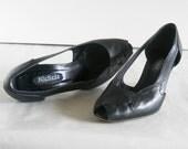 vintage peep toe pumps with cutouts