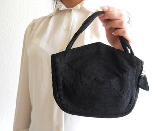 vintage 1940s black corde purse *** PRICE already MARKED DOWN 30% ***