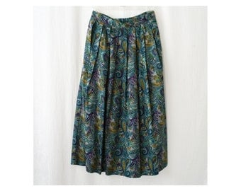 Vintage Skirt, Paisley Print Full-length and Pleated
